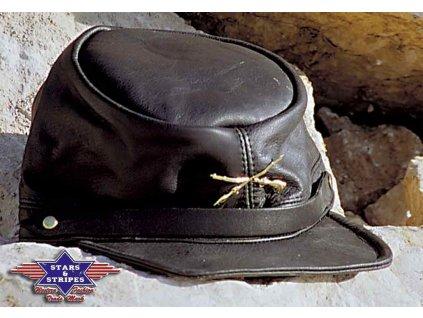Jižanská kožená čepice konfederace s odznakem