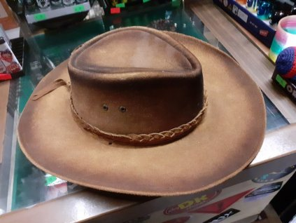 Kožený klobouk westernový žíhaný - velmi pěkný v.55