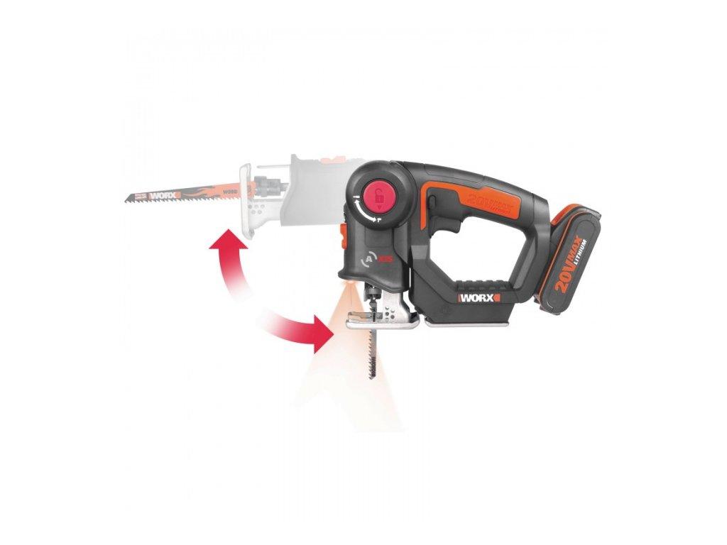 Aku přímočará pila + ocaska dvojkombinace WORX PowerShare WX550-9 - bez akumulátoru