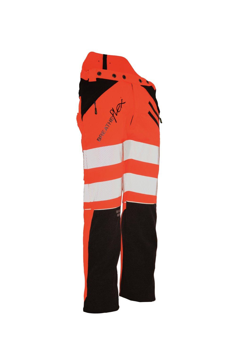 Protipořezové kalhoty Breatheflex oranžové Hi-Viz s kevlarem Class1/TypeC Reg