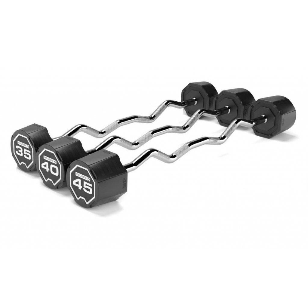 SADA obouruční činka urethanová lomená Escape: 25 – 45 kg (Curl Barbell)_01