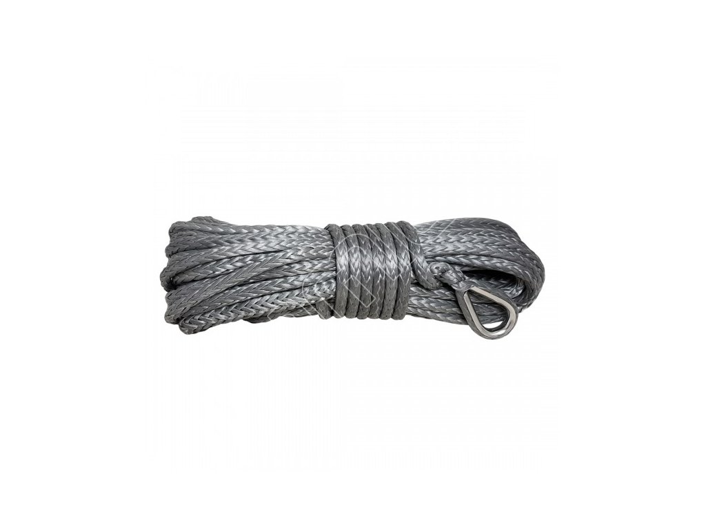 grey synthetic rope 10 mm x 28 m with thimble and hook mbl 105t