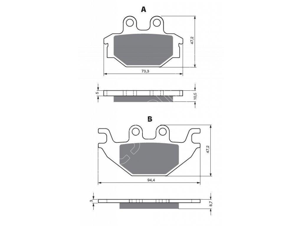 Přední brzdové destičky na TGB Blade/Target 425/550/600
