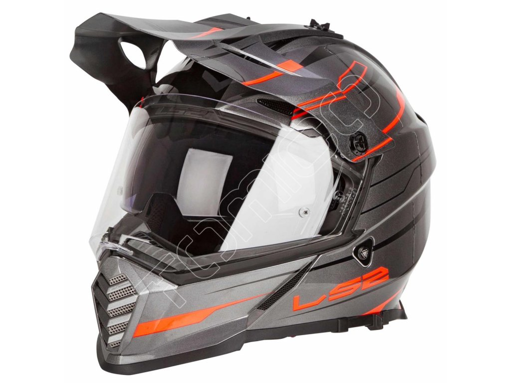 Endurová helma LS2 MX436 Pioneer Element matná šedá