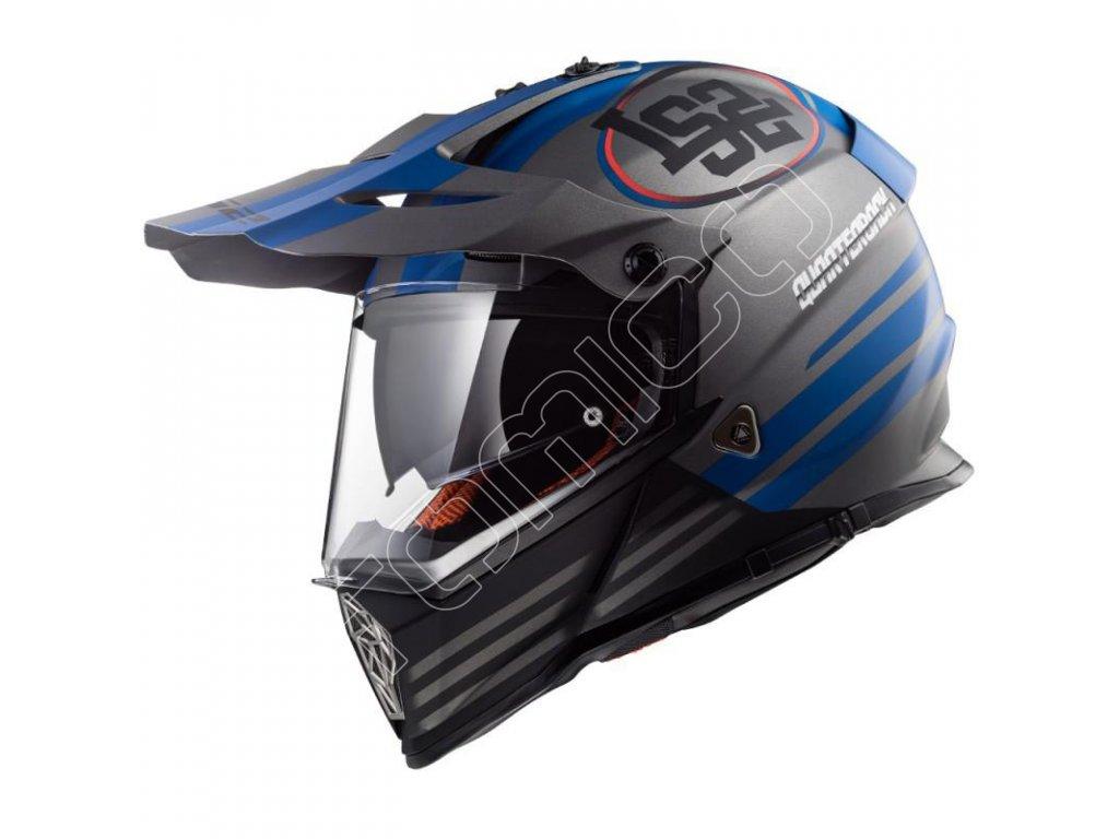 Endurová helma LS2 MX436 Pioneer Quarterback matná šedá/modrá