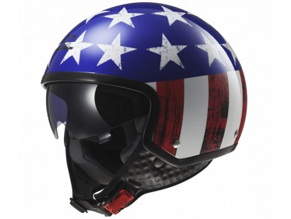 Skútrová helma LS2 OF561 WAVE - RAW BLUE-RED-WHITE
