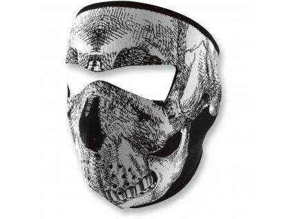 Maska ZANHEADGEAR - bílá lebka