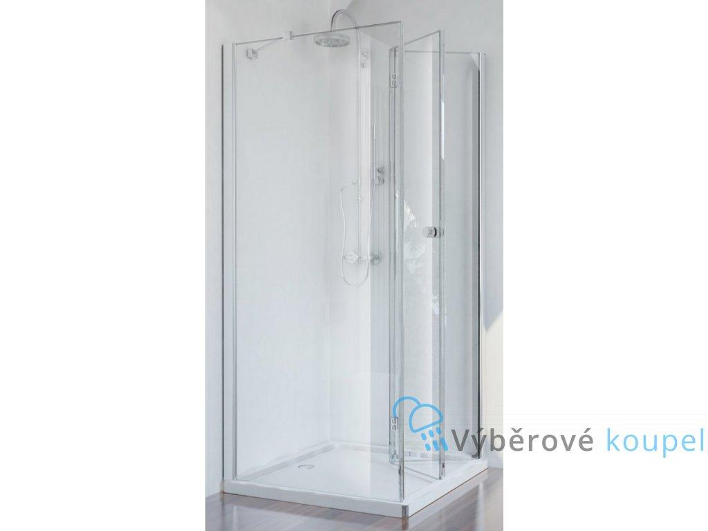 Sanotechnik Smartflex čtvercový sprchový kout, šířka 80cm, zalamovací dveře + pevná část, čiré sklo, D1180+D1281FR/FL (Umiestnenie dverí Pravé dvere)