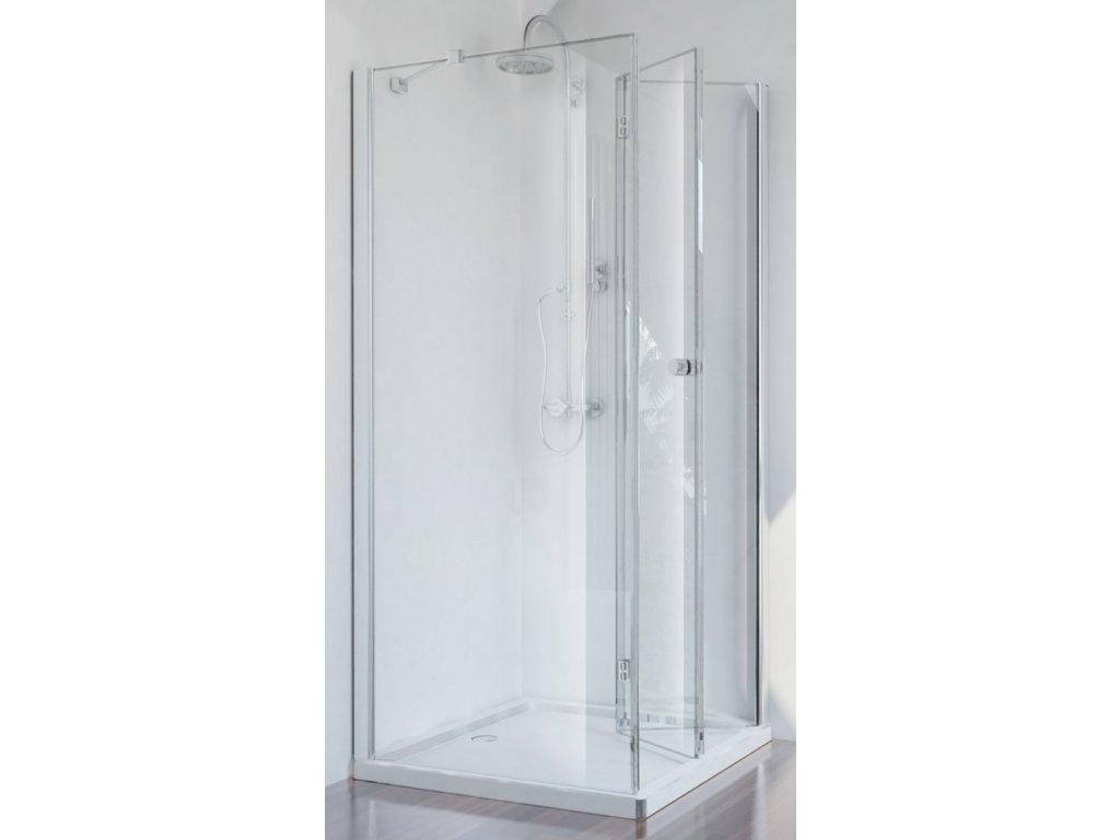 Sanotechnik Smartflex čtvercový sprchový kout, šířka 90cm, zalamovací dveře + pevná část, čiré sklo, D1190+D1291FR/FL (Umiestnenie dverí Pravé dvere)