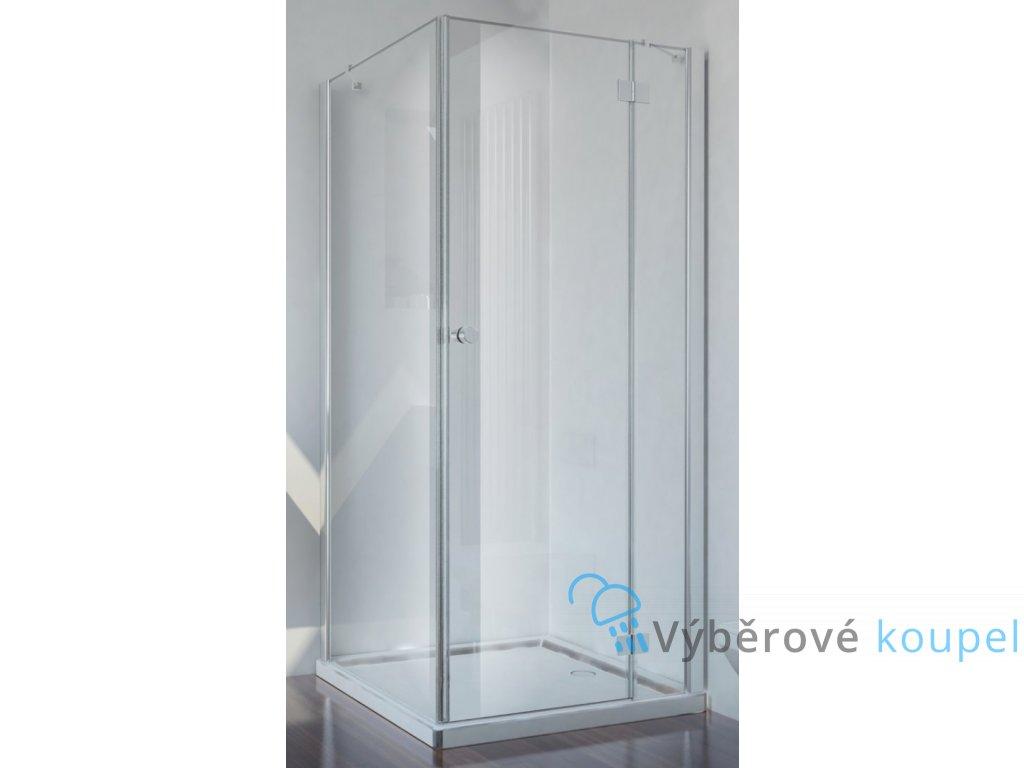 Sanotechnik Smartflex čtvercový sprchový kout, šířka 80cm, otevírací dveře + pevná část, čiré sklo, D1180+D1281R/L (Umiestnenie dverí Pravé dvere)