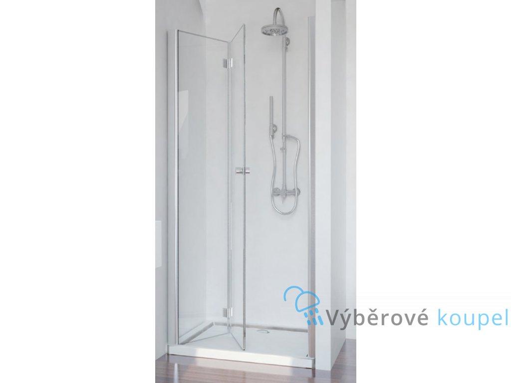 Sanotechnik Smartflex sprchové dveře, šířka 90cm, zalamovací + nástěnný profil (Šírka nástenného profilu Šírka nástenného profilu 3,4 - 4,5 cm, Umiestnenie dverí Pravé dvere)