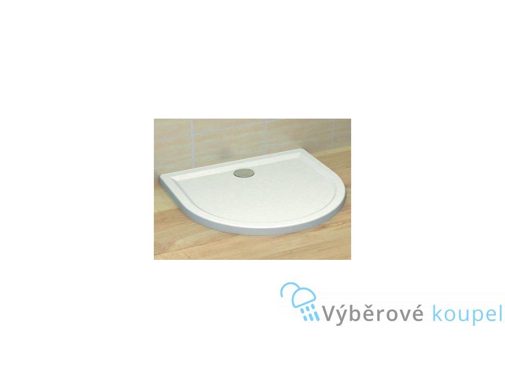 Radaway Delos P sprchová vanička, akrylát, oblá na rovnou stěnu, 100x90cm (Čelní panel S čelním panelem)