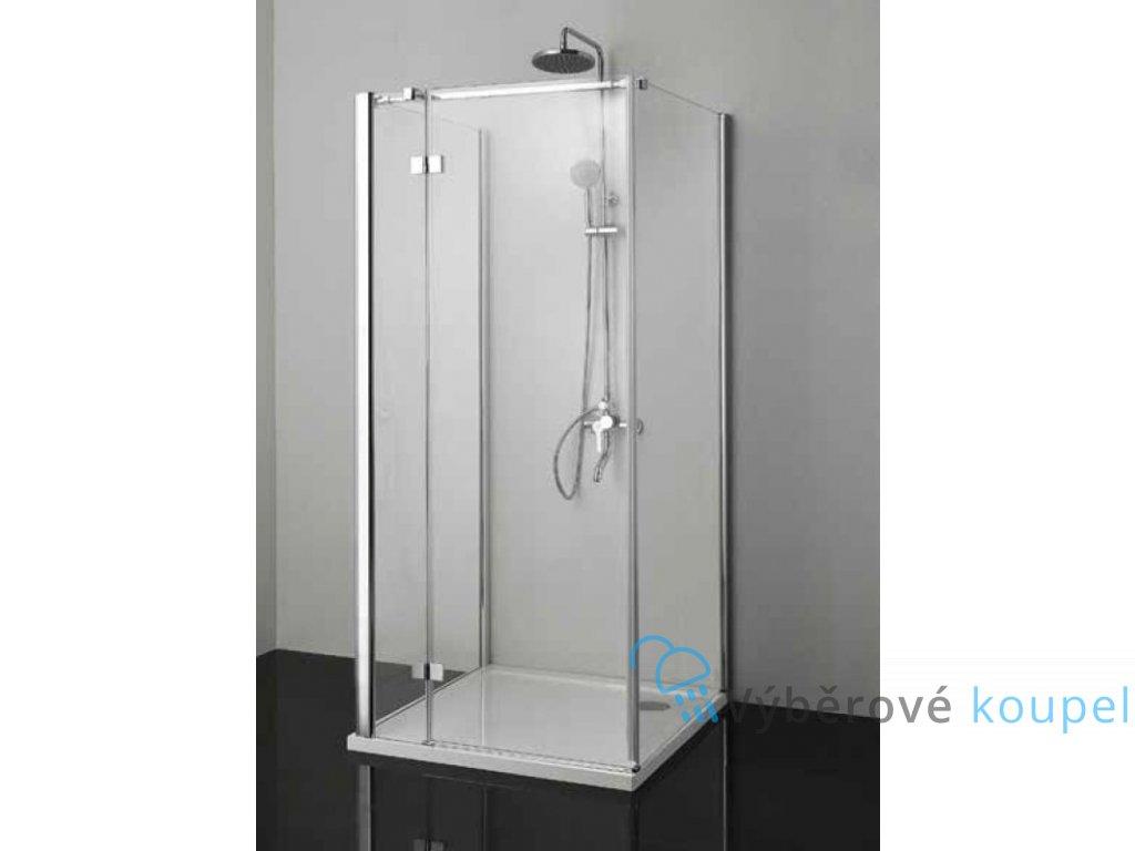 Sanotechnik Smartflex sprchový kout na rovnou stěnu čtverec, 90x90cm, otevírací dveře, čiré sklo, D1190+D1190+D1291L/R (Umiestnenie dverí Pravé dvere)