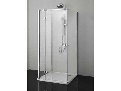 Sanotechnik Smartflex sprchový kout na rovnou stěnu čtverec, 80x80cm, otevírací dveře, čiré sklo, D1180+D1180+D1281L/R (Umiestnenie dverí Pravé dvere)