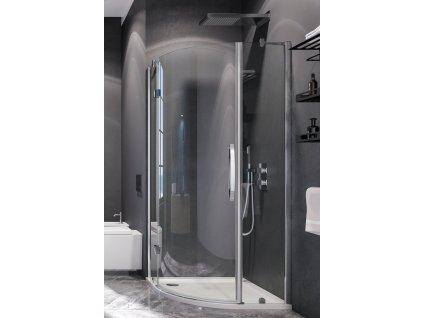 Aquatek Extra S5, čtvrtkruhový sprchový kout, šířka 90cm, otevírací dveře (Farba skla Sklo frost)