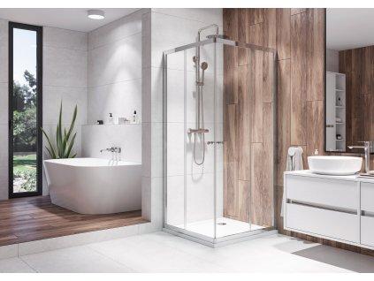 Aquatek Holiday A4 90, čtvercový sprchový kout, šířka 90cm, posuvné dveře (Farba skla Sklo číre)