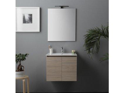 58406 kvstore berlin koupelnovy nabytek 60cm s dvirky keramicke umyvadlo a led lampa hnedy jilm