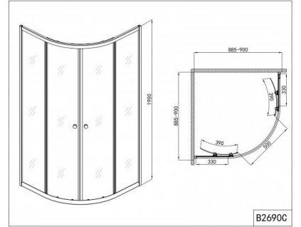 58679 sanotechnik ctvrtkruhovy sprchovy kout sirka 90cm posuvne dvere