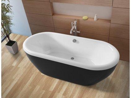 Riho DUA akrylátová volně stojící vana 180x86cm, bílá / černá (Farba Čierna farba)