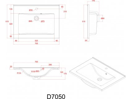 Sanotechnik Fiora koupelnový nábytek, 70cm, antracitový (Varianta se zrcadlovou a boční skříňkou)