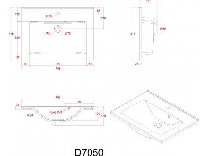 Sanotechnik Fiora koupelnový nábytek, 70cm, bílý (Varianta se zrcadlovou a boční skříňkou)