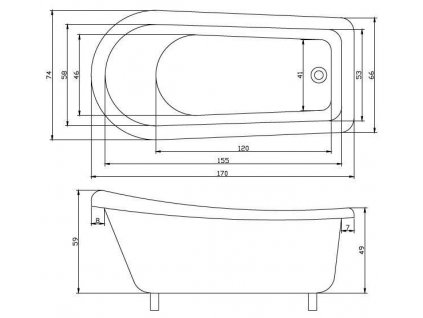 59990 sanotechnik empire akrylatova volne stojici vana 170x75 cm