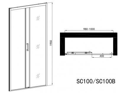 60218 sanotechnik soho elite black sprchove dvere sirka 100cm posuvne