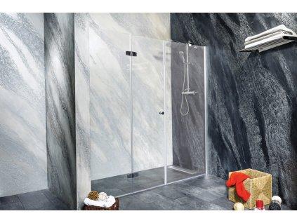 Sanotechnik Sanoflex Duet+Young sprchová zástěna, zalamovací dveře + fix, šířka 150-220cm (Rozmer 90cm, Spůsob otevírání fixní sklo)