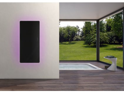 Sanotechnik E-Rom elektrický radiátor do koupelny designový 700W, černý, rovný