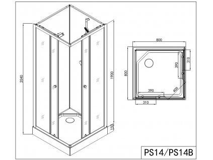 PS14 Sanotechnik FORTE 1 sprchový box štvorec bez strechy, 80x80x203cm, biely