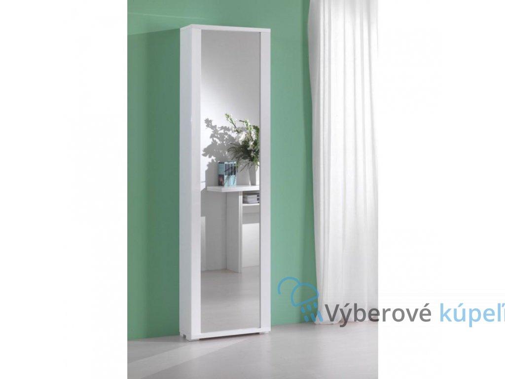 11246 kvstore milleusi vysoka skrinka zrkadlove dvierka 50x182x31 cm ram biely
