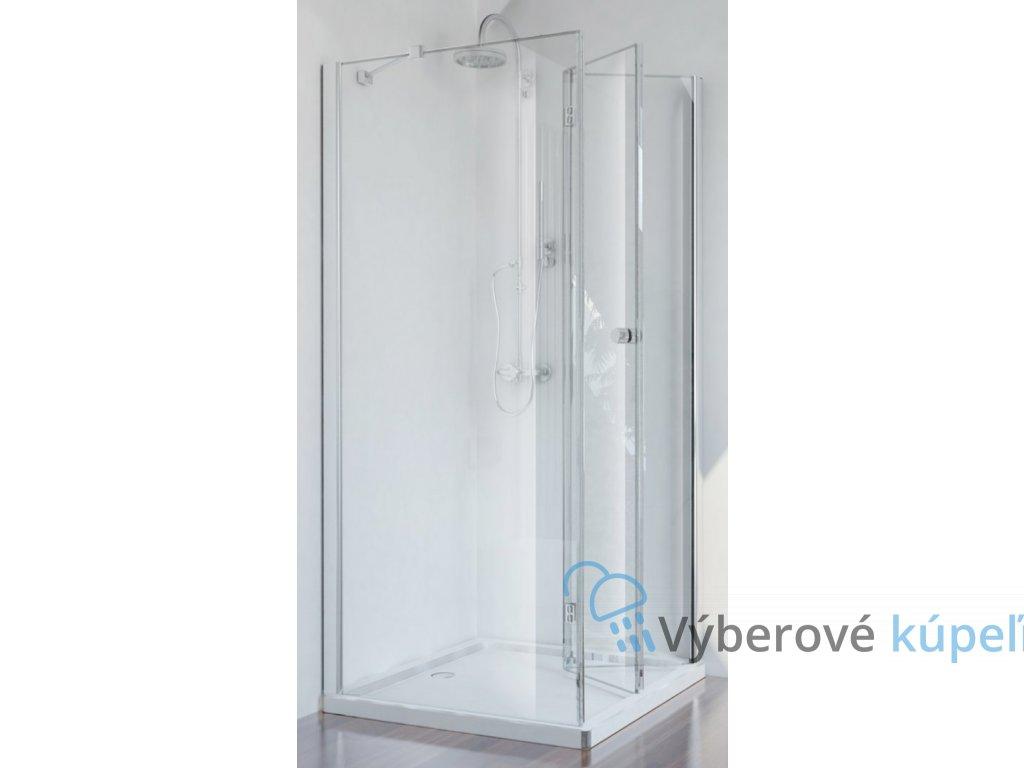 Sanotechnik Smartflex štvorcový sprchový kút, šírka 80cm, zalamovacie dvere + pevná časť, číre sklo, D1180+D1281FR/FL (Umiestnenie dverí Pravé dvere)