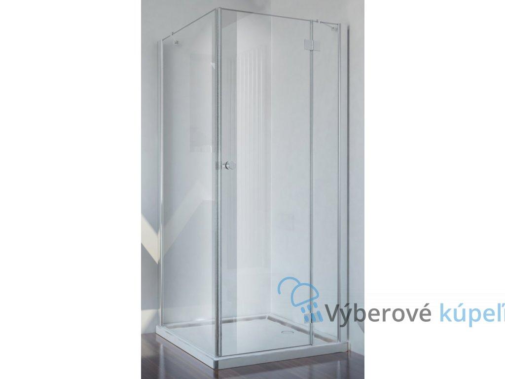 Sanotechnik Smartflex štvorcový sprchový kút, šírka 80cm, otváravé dvere + pevná časť, číre sklo, D1180+D1281R/L (Umiestnenie dverí Pravé dvere)