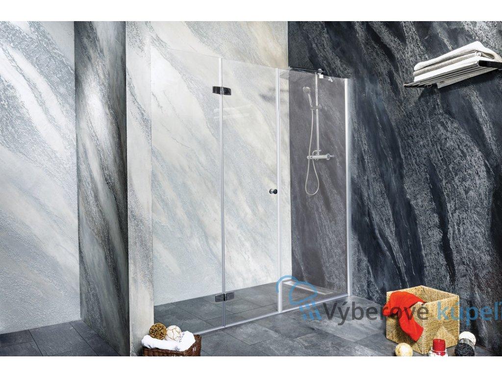 Sanotechnik Sanoflex Duet+Young sprchová zástena, zalamovacie dvere + fix, šírka 150-220cm