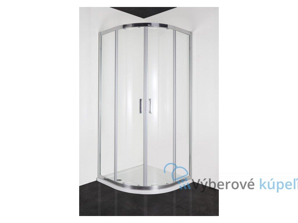 Sanotechnik SOHO Elite Chrome štvrťkruhový sprchový kút, šírka 90cm, posuvné dvere