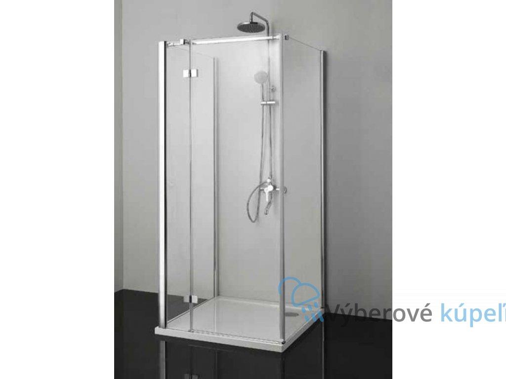 Sanotechnik Smartflex sprchový kút na rovnú stenu štvorec, 80x80cm, otváravé dvere, číre sklo, D1180+D1180+D1281L/R (Umiestnenie dverí Pravé dvere)