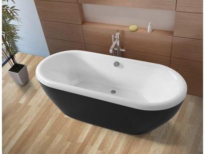 Riho DUA akrylátová voľne stojaca vaňa 180x86cm, biela / čierna (Farba Čierna farba)