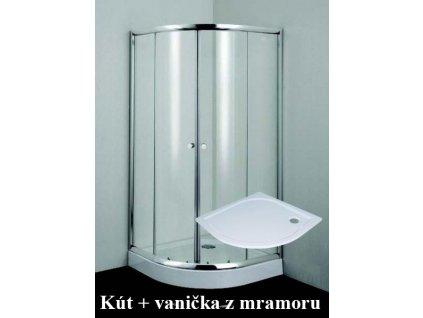 B2690C 20010 Sanotechnik Simply Flex štvrťkruhový sprchový kút, šírka 90cm, posuvné dvere + vanička z liateho mramoru