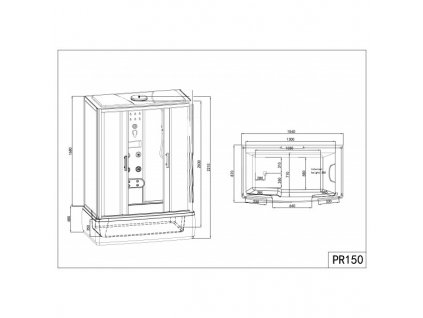 15614 sanotechnik nevada 150 sprchovy box s vanou obdlznik 150x85x223cm