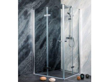 Sanotechnik Sanoflex Duet obdĺžnikový sprchový kút, šírka 100x80cm, zalamovacie dvere (Umiestnenie Pravé prevedenie)