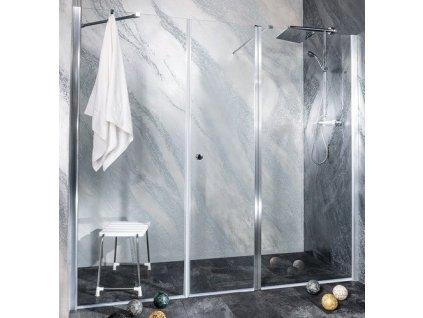 Sanotechnik Sanoflex Grande+Young sprchová zástena, otváravé dvere + fix, šírka 190-280cm (Rozmer 160cm, Spôsob otvárania otváravé dvere)
