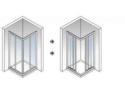 Aquatek Royal A4 90, štvorcový sprchový kút, šírka 90cm, posuvné dvere (Farba skla Sklo grape)