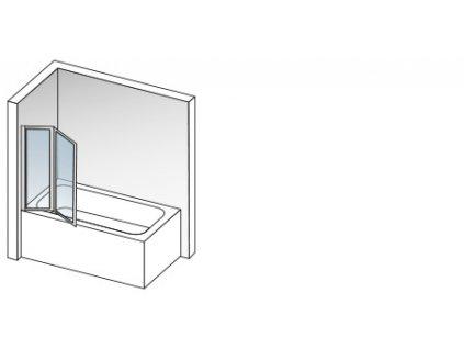 Aquatek Lux L2 96, vaňová zástena 96x140cm, zalamovacia dvojdielna (Farba skla Sklo grape)