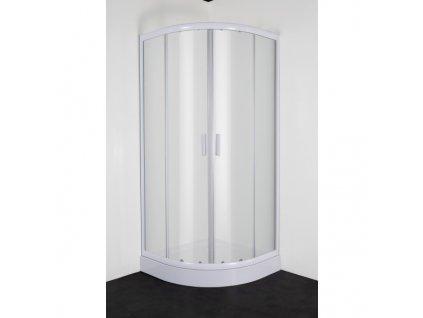 Sanotechnik Sanodusch štvrťkruhový sprchový kút, šírka 80cm, posuvné dvere, biely, číre sklo