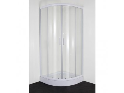 Sanotechnik Sanodusch štvrťkruhový sprchový kút, šírka 80cm, posuvné dvere, biely, matné sklo
