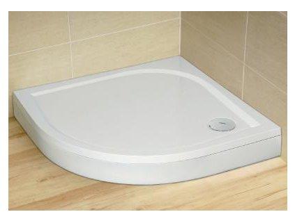 Radaway Paros A sprchová vanička, liaty mramor, štvrťkruh 100cm (Čelný panel S čelným panelom)