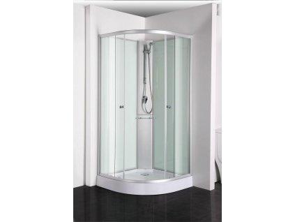 PS03 Sanotechnik RIO sprchový box štvrťkruh bez strechy 90x90x203 cm, biely 01