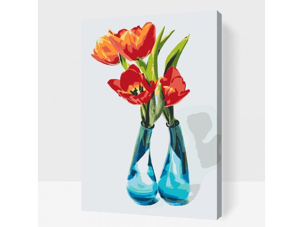 Malování podle čísel - Tulipány ve váze (Rámování Bez rámu (pouze plátno), Velikost 40x60cm)