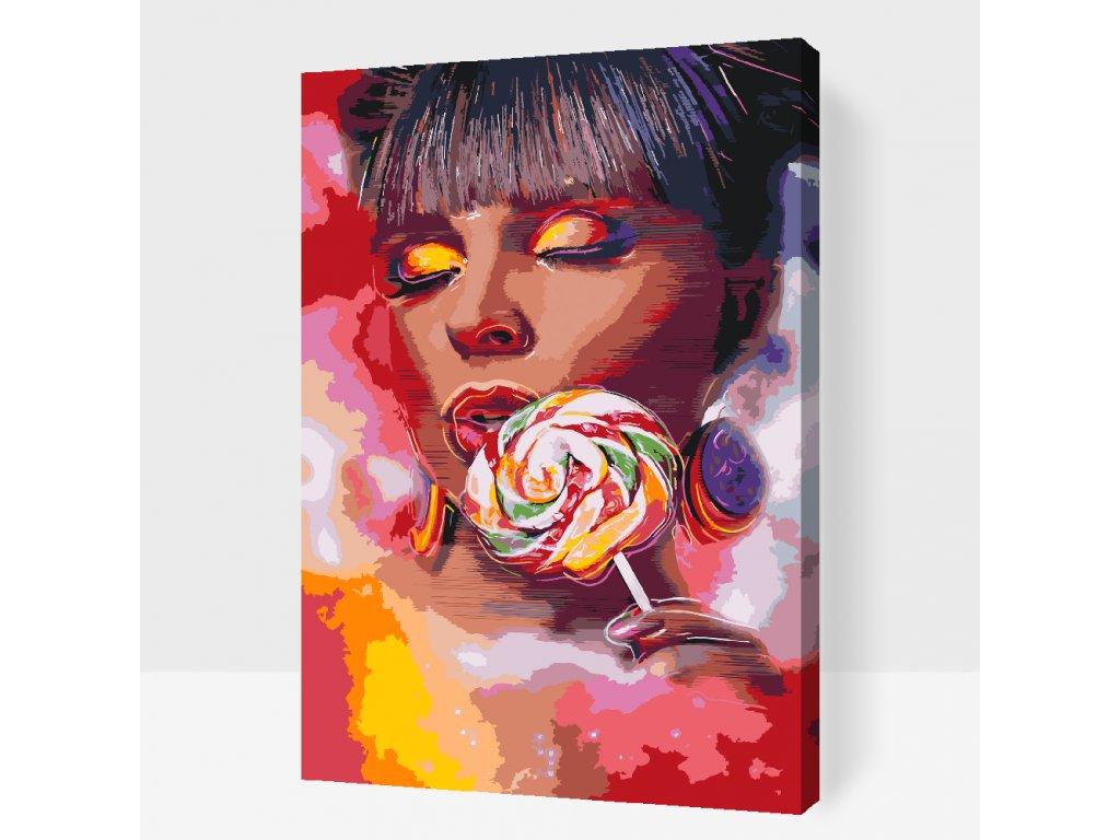 Malování podle čísel - Žena s lízátkem (Rámování Bez rámu (pouze plátno), Velikost 40x60cm)