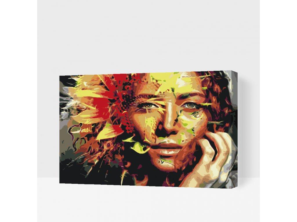 Malování podle čísel - Žena ukrytá ve slunečnici (Rámování Bez rámu (pouze plátno), Velikost 40x60cm)